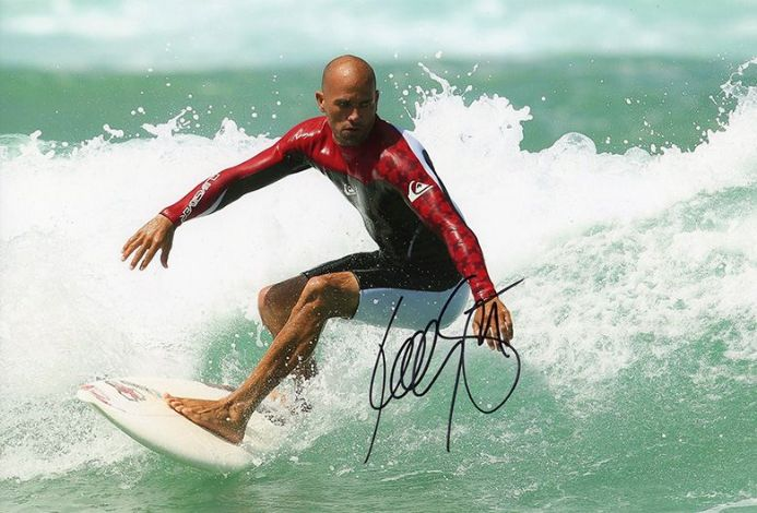 Kelly Slater, American surfer, Baywatch, signed 12x8 inch photo.